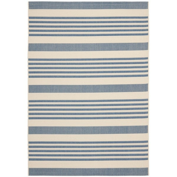 Safavieh Courtyard Stripe Beige/ Blue Indoor/ Outdoor Rug - Free ...