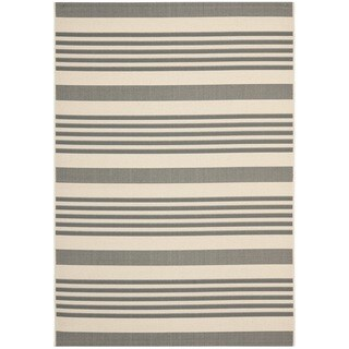 Safavieh Courtyard Stripe Grey/ Bone Indoor/ Outdoor Rug (More options available)