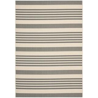Safavieh Courtyard Stripe Grey/ Bone Indoor/ Outdoor Rug