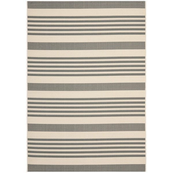 Safavieh Courtyard Stripe Grey/ Bone Indoor/ Outdoor Rug