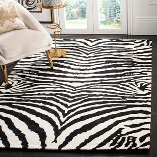 Safavieh Handmade Zebra Ivory/ Black New Zealand Wool Rug (3'6 x 5'6')