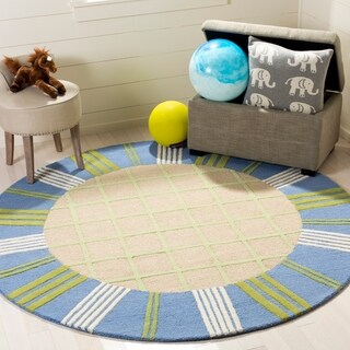 Safavieh Handmade Children's Plaid Beige New Zealand Wool Rug - 6' x 6' Round