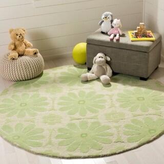 Safavieh Handmade Children's Daisies Green New Zealand Wool Rug (6' Round)