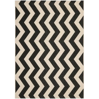Safavieh Courtyard Zig-Zag Black/ Beige Indoor/ Outdoor Rug