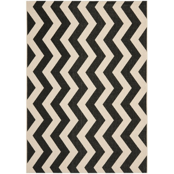 Safavieh Courtyard Zig-Zag Black/ Beige Indoor/ Outdoor Rug - Free ... | title