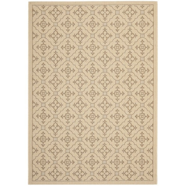 Safavieh Courtyard Poolside Cream/ Brown Indoor/ Outdoor Rug (5' 3 x 7' 7)