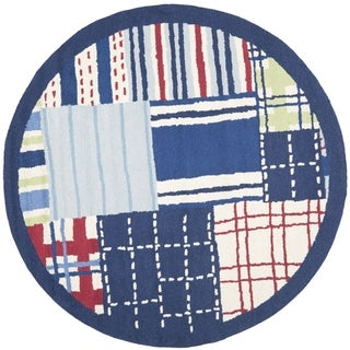 Safavieh Handmade Children's Matrix Blue New Zealand Wool Rug (6' Round)