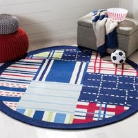 Safavieh Handmade Children's Matrix Blue New Zealand Wool Rug - 6' x 6' Round