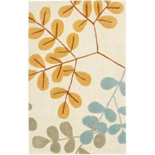 Safavieh Handmade Modern Art Serenity Ivory/ Multicolored Polyester Rug (2'6 x 4')