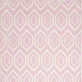 Safavieh Moroccan Reversible Dhurrie Pink/ Ivory Wool Rug (8' Square)