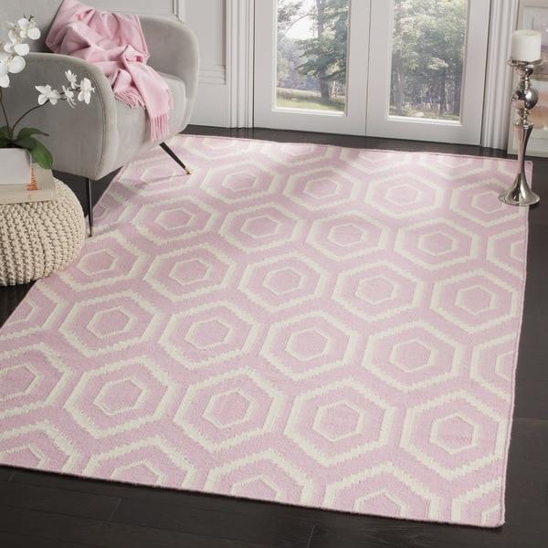Safavieh Moroccan Reversible Dhurrie Pink/ Ivory Wool Rug