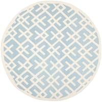 Safavieh Moroccan Light Blue/ Ivory Reversible Dhurrie Wool Rug - 8' x 8' Round