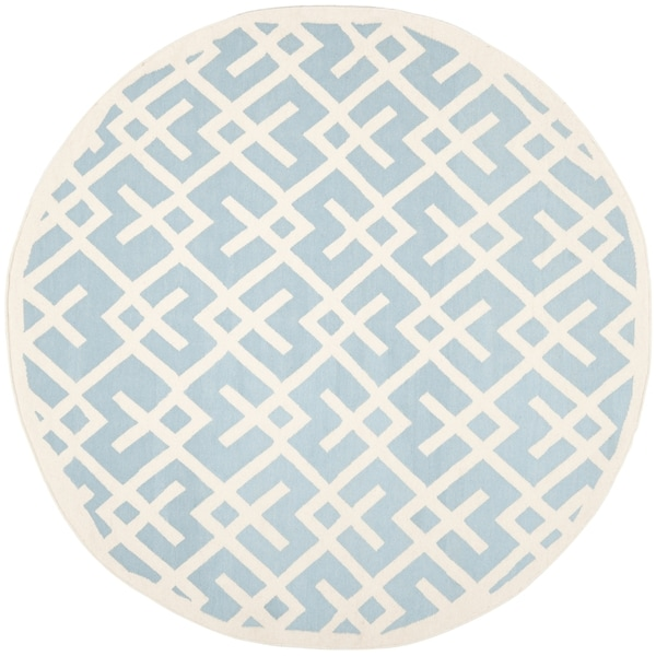 Safavieh Moroccan Light Blue/ Ivory Reversible Dhurrie Wool Rug (8' Round)