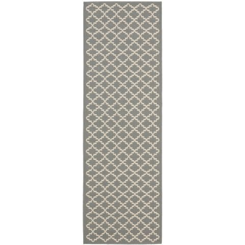 "Safavieh Anthracite Grey/ Beige Indoor Outdoor Rug - 2'3"" x 14' Runner"