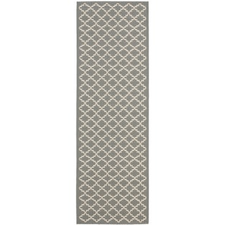 Safavieh Anthracite Grey/ Beige Indoor Outdoor Rug (2'2 x 14')