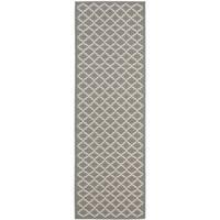 Safavieh Anthracite Grey/ Beige Indoor Outdoor Rug - 2'2 x 14'