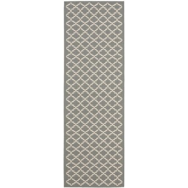 Safavieh Anthracite Grey/ Beige Indoor Outdoor Rug (2'2 x 12')