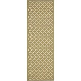 Safavieh Green/ Beige Indoor Outdoor Rug (2'2 x 14')