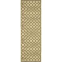 Safavieh Green/ Beige Indoor Outdoor Rug - 2'2 x 14'
