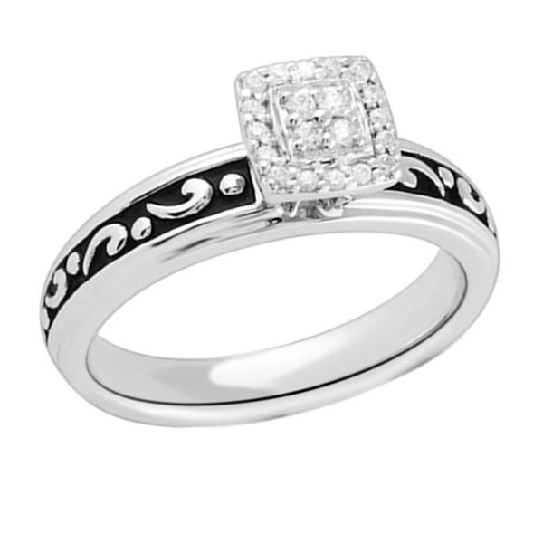 Bridal Symphony Sterling Silver 1/10ct Black Antique Diamond Ring (I-J, I2-I3)