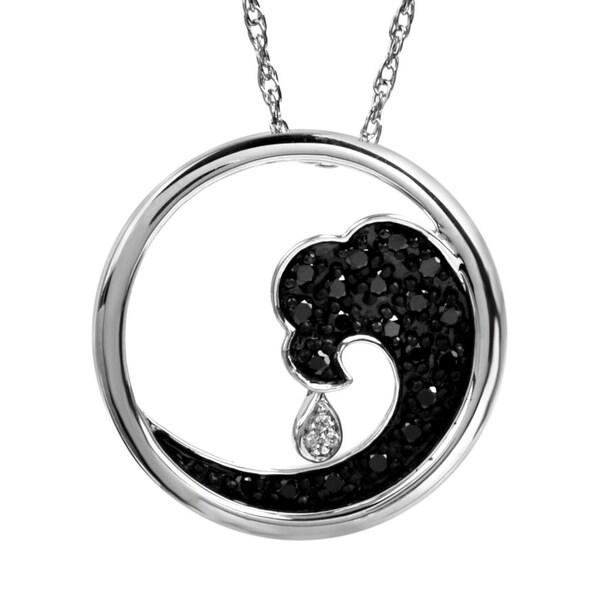 Bridal Symphony Sterling Silver 1/4ct Black and White Diamond Wave Pendant (IJ/I3)