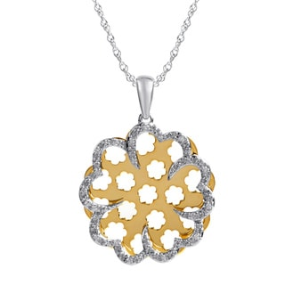 Bridal Symphony Sterling Silver and 10k Yellow Gold Flower 1/10CTtw Diamond Accent Necklace (I-J, I2-I3)