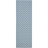 Safavieh Blue/ Beige Indoor Outdoor Rug - 2'2 X 12'