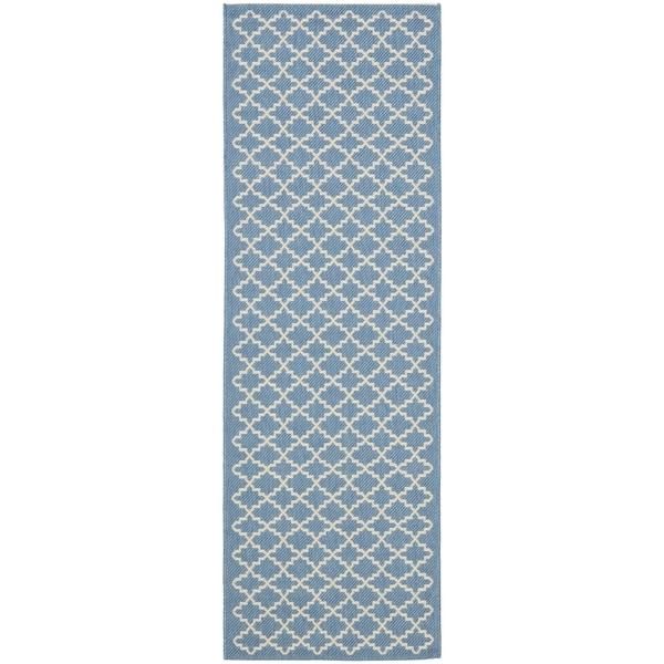 Safavieh Blue/ Beige Indoor Outdoor Rug (2'2 x 12')