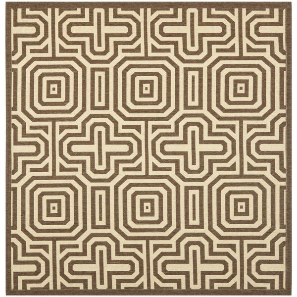Safavieh Matrix Chocolate/ Natural Indoor/ Outdoor Rug (6'7 Square)