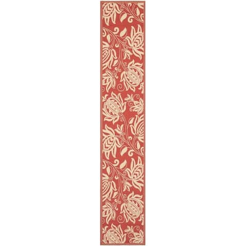 """Safavieh Andros Red/ Natural Indoor/ Outdoor Rug - 2'3"""" x 14' Runner"""