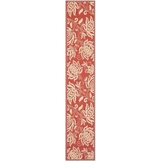 """Safavieh Andros Red/ Natural Indoor/ Outdoor Rug - 2'3"""" x 14'"""