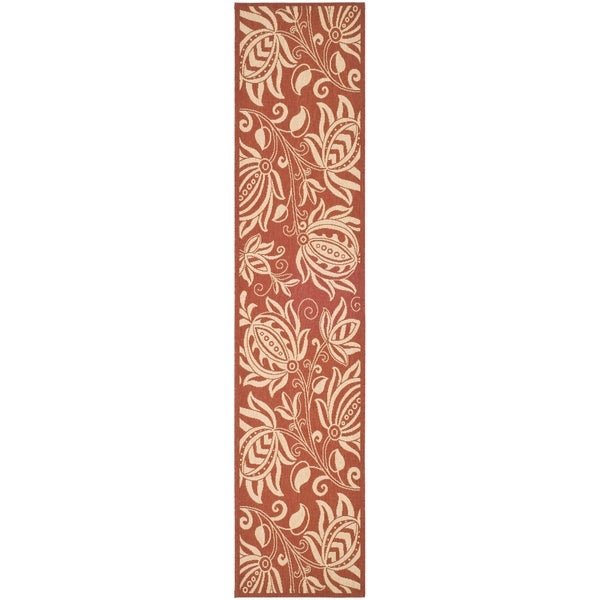 Safavieh Red/ Natural Indoor Outdoor Rug (2'2 x 14')