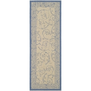 Safavieh Oasis Scrollwork Natural/ Blue Indoor/ Outdoor Runner Rug (2'2 x 12')