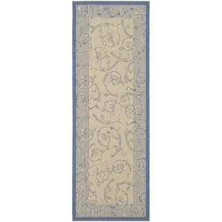 Safavieh Oasis Scrollwork Natural/ Blue Indoor/ Outdoor Runner Rug - 2'2 X 12'