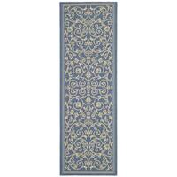 Safavieh Resorts Scrollwork Blue/ Natural Indoor/ Outdoor Rug (2'2 x 12') - 2'2 x 12'