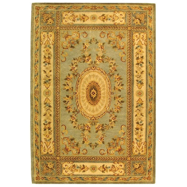 Safavieh Handmade Oasis Light Blue/ Ivory Hand-spun Wool Rug - 9'6 x 13'6