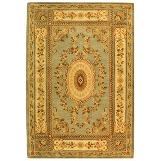 Safavieh Handmade Oasis Light Blue/ Ivory Hand-spun Wool Rug (9' x 12')