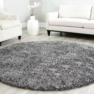 Safavieh Handmade Malibu Shag Charcoal Grey Polyester Rug (7' Round)
