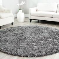Safavieh Handmade Malibu Shag Charcoal Grey Polyester Rug - 7' x 7' Round