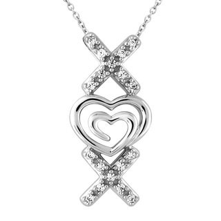 Bridal Symphony Sterling Silver Double Heart 'XX' 1/10CTtw Diamond Accent Pendant (I-J, I2-I3)