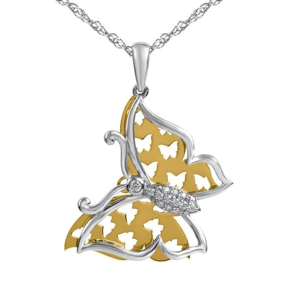 Bridal Symphony 10k Yellow Gold/Silver 1/10ctw Diamond Butterfly Necklace