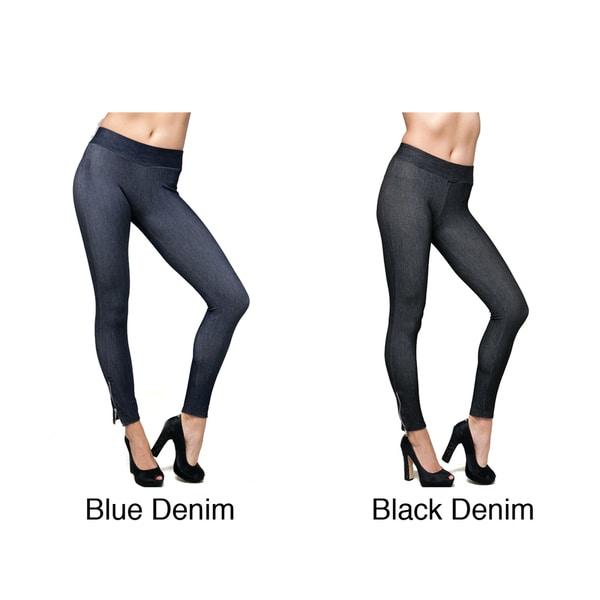 Stanzino Women's Ankle Zip Stretch Denim Leggings