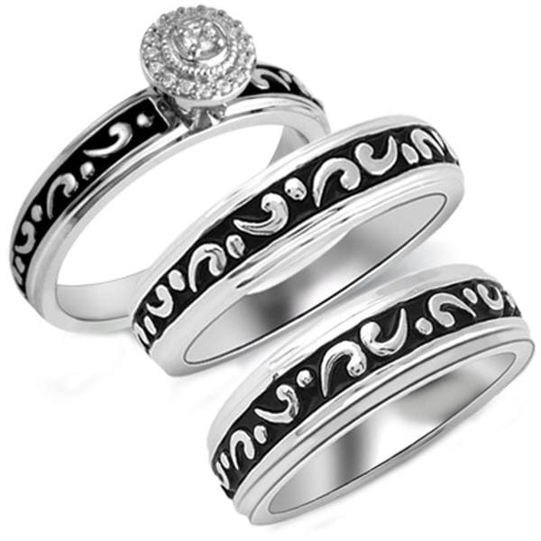 Bridal Symphony Sterling Silver 1/10ct TDW Diamond His and Her Matching Engagement and Wedding Band (I-J, I2-I3)