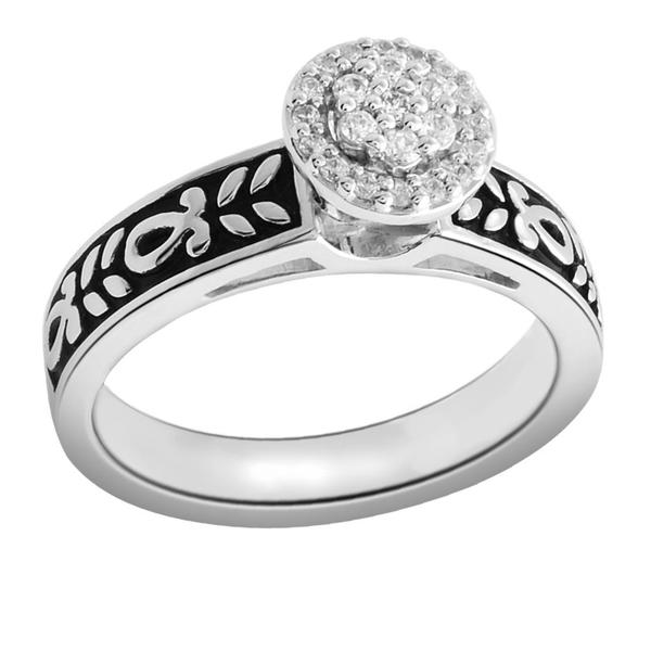 Bridal Symphony Sterling Silver 1/6ct TDW Diamond Black Antique Ring