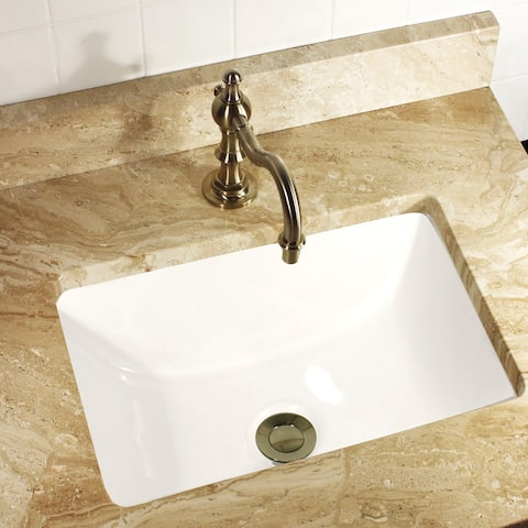 Highpoint Collection Petite Rectangle Ceramic Undermount Vanity Lavatory Sink