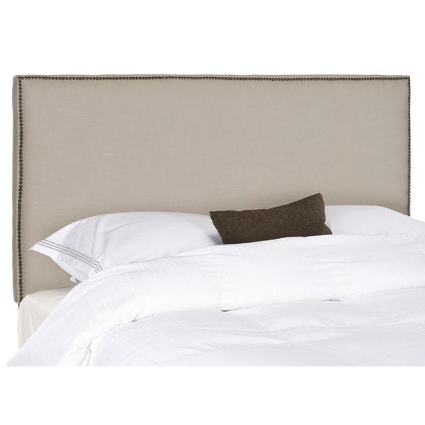 Safavieh Sydney Taupe Linen Upholstered Headboard - Brass Nailhead