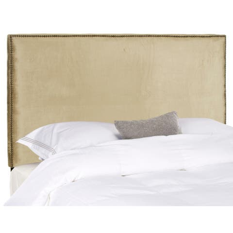 Safavieh Sydney Antique Sage Upholstered Headboard - Brass Nailhead