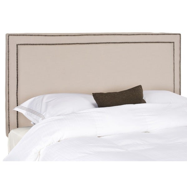Safavieh Cory Taupe Linen Upholstered Headboard - Brass Nailhead (Queen)