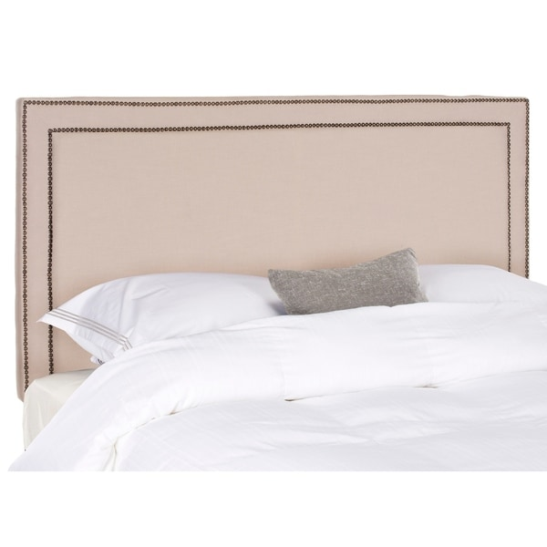 Safavieh Cory Taupe Linen Upholstered Headboard - Brass Nailhead (Queen). Opens flyout.