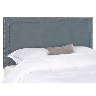 Safavieh Cory Grey Velvet Upholstered Headboard - Silver Nailhead (Queen)